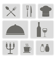 monochrome icons with restaurant symbols vector image vector image
