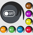 off icon sign Symbols on eight colored buttons vector image vector image