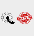 phone receiver gear icon and grunge back to vector image vector image