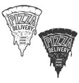 pizza delivery a piece pizza with lettering vector image
