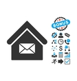 Post Office Flat Icon with Bonus vector image