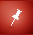 push pin icon on red background thumbtacks sign vector image