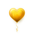 realistic golden heart balloon on white vector image
