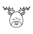 reindeer face celebration merry christmas thick vector image