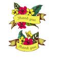 ribbon design of allamandas with thank you sing vector image