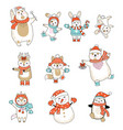 Set animals characters in clothes