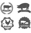 set butcher shop labels and design elements vector image