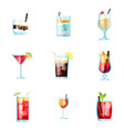 set nine tropical cocktails in flat style vector image vector image