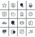 set of 16 eco icons includes sun power house vector image vector image