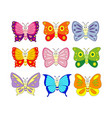 set of 9 cartoon butterfly vector image