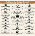 set vintage calligraphic design elements vector image