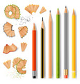 sharpened wooden pencils and shavings vector image vector image