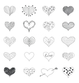 Sketch Romantic Love Hearts Retro Doodles Icons vector image vector image