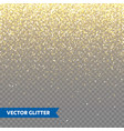 sparkling golden glitter on transparent vector image