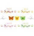 Summer banners with text swirls and butterfly vector image vector image