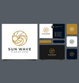 sunset wave logo design template and business card vector image vector image