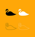 swan set black and white icon vector image vector image