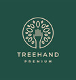 tree hand leaf gold green logo icon vector image