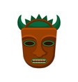 tribal tiki mask with green horns and big teeth vector image vector image