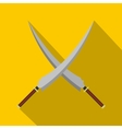 Two crossed Japanese samurai swords icon vector image vector image