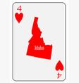 usa playing card 4 hearts vector image