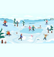 winter outdoor activity snow games on fresh vector image vector image