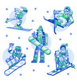winter sports man and woman line icons vector image