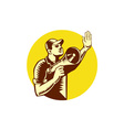 Worker Holding Megaphone Circle Woodcut vector image vector image