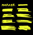 yellow highlighter brush lines on black vector image