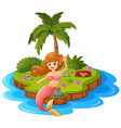 young mermaid in the island vector image