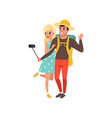 young tourist couple taking selfie using selfie vector image vector image