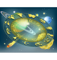 zodiac circle in the space among planets vector image vector image