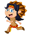 Cartoon men indian tribe vector image