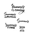 typographic summer black inscriptions collection vector image