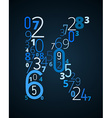 Letter K font from numbers vector image