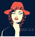 double exposure Woman with red hat vector image