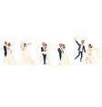 happy wedding couple set cartoon bride and groom vector image