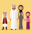 arab family together in a beautiful dress vector image vector image