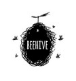 beehive with bees sketch art for your design vector image