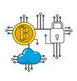 bitcoin padlock and cloud data with circuits vector image vector image