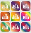 Buildings icon Nine buttons with bright gradients vector image vector image