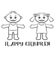 Children Boy and Girl Contours vector image