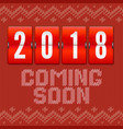 coming soon 2018 new year concept of card on the vector image vector image