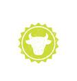 cow head cattle farm logo badge vector image vector image