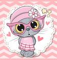 cute cat girl in pink eyeglasses vector image