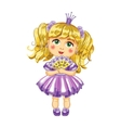 Cute little princess in a purple dress vector image