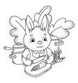 cute little rabbit cutting a fresh carrot vector image vector image