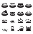 dim sum japanese food icons vector image vector image