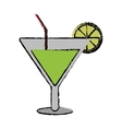 drawing soft drink cocktail lemon and straw vector image vector image