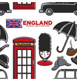 england travel destination seamless pattern vector image
